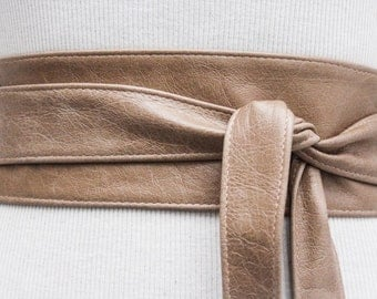 Distressed Beige Taupe Leather Obi Belt   Waist or Hip Belt   Leather tie belt   Real Leather Belt  Petite to Plus Size Belts
