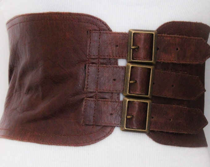 Featured listing image: Brown Corset Leather Three Buckle Belt | Brown Waist Belt | Corset Wide Belt | Leather Buckle Belt | Buckle Belt | Plus Size