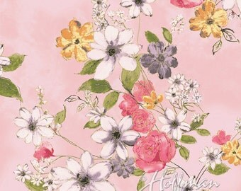 Hoffman Fabric Painted Petals Pink