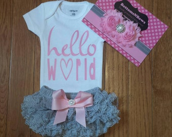 "Ready to ship Pink Vinyl ""Hello World"" Onesie, Gray Lace Bloomers,& Matching Headbnd Set, baby girl, newborn,hospital outfit,take home set"