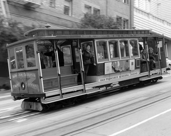 San Francisco Photo / San Francisco Photography - Black and White San Francisco Trolley / Trolley - Framed / Canvas Art