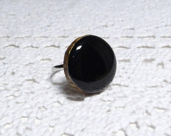 Wooden ring, natural wood ring, unique gift, wood jewelry, eco friendly ring, black ring, wood gem (0335)