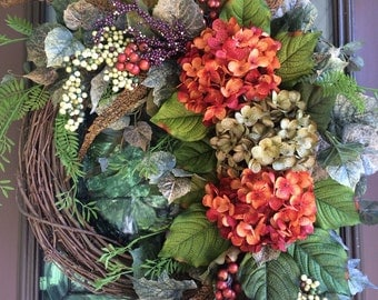 Autumn Wreath, Fall Wreath, Hydrangea Wreath, Grapevine Wreath, Door Wreath