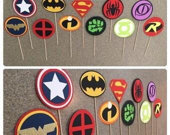 Superhero Props, Superhero Centerpieces  superhero party theme, super hero photo booth props, super hero Centerpieces
