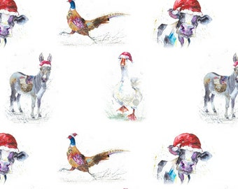 Christmas Animal art Wrapping Paper/ Gift wrap  3 X Sheets mixed designs