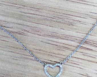 Diamond and 14K White Gold Heart Necklace
