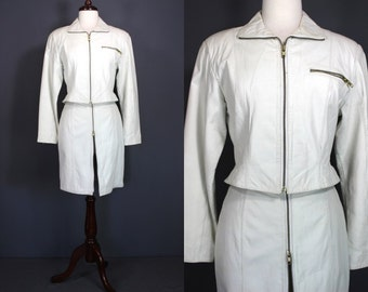 80's White Leather Suit.....Super Rad 80's White Leather Skirt And Jacket Suit By Avon
