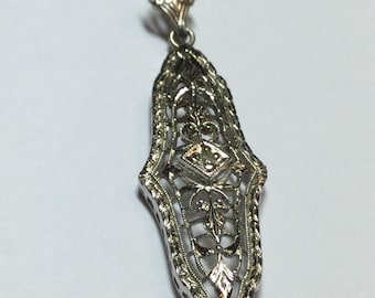 Vintage Art Deco Sterling Silver Filigree Pendant With Diamond Chip