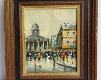 Vintage Original Oil Painting of a City with People Signature Illegible