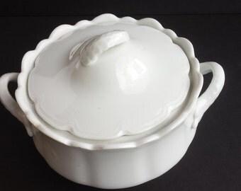 White Porcelain Lidded Serving Bowl