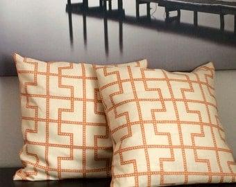 Orange Patterned Linen Throw Pillow