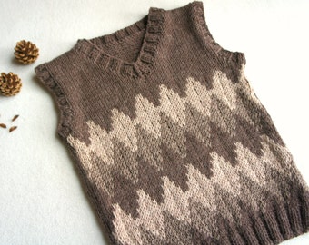 Boys tank top, brown and beige knitted vest,  made to order