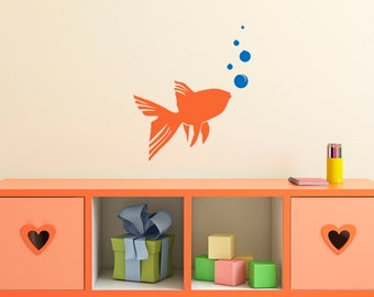 Gold Fish Stencil in reusable Mylar  small to large stencil up to 19.5 x 27.5 inches 500 x 700mm. Wall, Fabric,Furniture Stencil, F