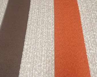 """Gooseberry Sand Heavy Weight Woven Upholstery Fabric by STI in orange, dark brown, and oatmeal 3-1/8"""" stripes."""