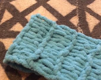 Aqua extra long skinny scarf