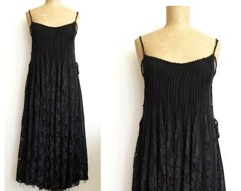 90s black LACE UP tent dress - vintage lace inset maxi dress - semi-sheer goth