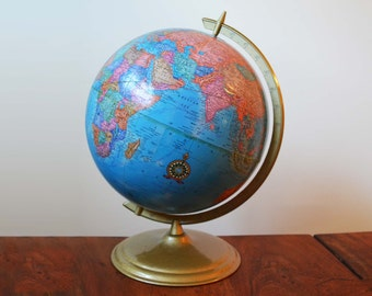 """Vintage Cram's 12"""" World Globe, circa 1980s with circular metal base and axis - excellent condition"""