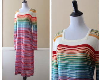 Vintage rainbow striped knit maxi dress, small to medium