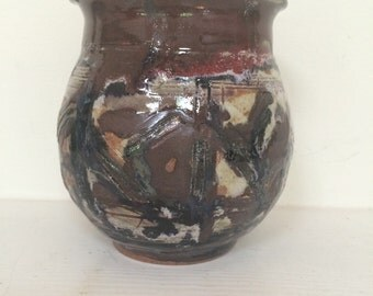 Primitive Style Glazed Pottery Vase -