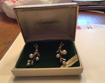 Vintage Krementz Gold Pearl Earrings in original box