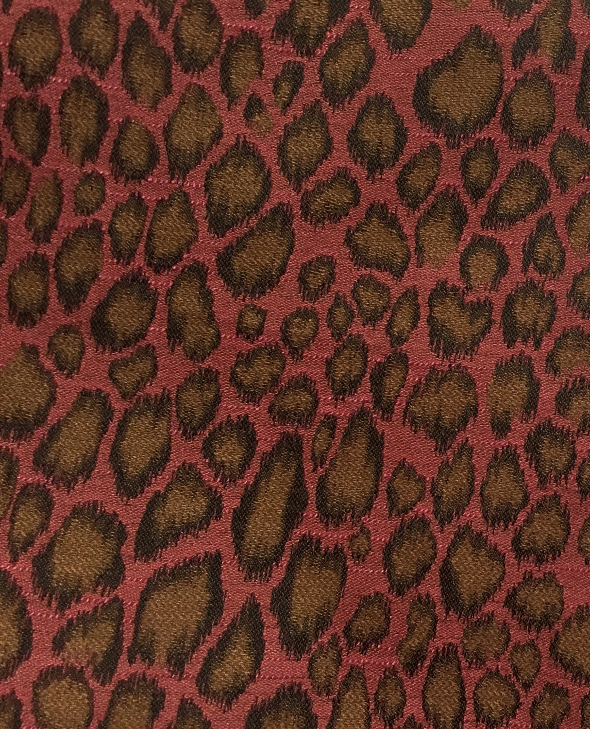 Pink Brown Leopard Animal Print Upholstery Fabric By