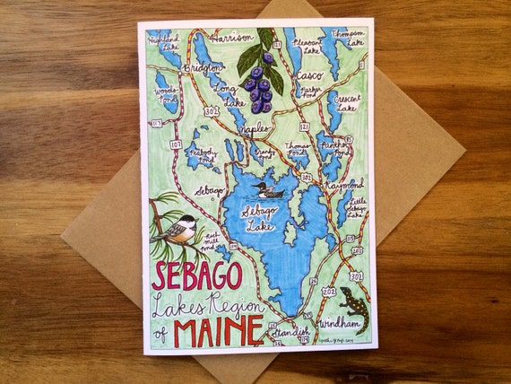 Sebago Lake Map Greeting Card, 5 x 7 (A7), blank inside