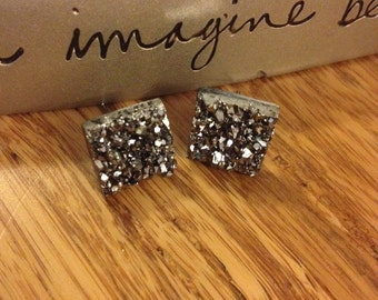 Dark Silver Sparkly Stud Earrings. Nickel Free. Square. 13mm. Light Weight. #3