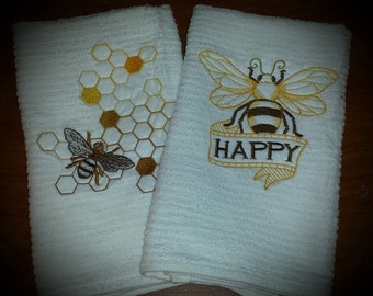 Bee Happy Honey Embroidered Towel Set