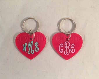 Personalized Gift, Monogrammed Heart Keychain, Monogram Gift, Monogrammed Keychain, Keychain, Key Chain, Heart Key Chain, Heart, Key Fob