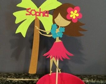 Luau Hula Girl cake topper with palm tree and name