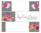 New Etsy Banner ~ Floral Black White Stripe Cover Photo, Large Shop Icon, Premade Business Set Makeover, Jumbo Layout, Profile, 1200x300 Big