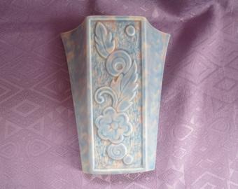 Pale blue ceramic wall pocket or hanging vase C1930s