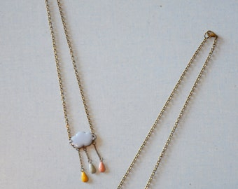 pastel necklace cloud and drops enamelled
