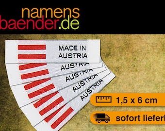5 Web labels / textile labels to sew 'MADE IN AUSTRIA' 1.5 x 6 cm