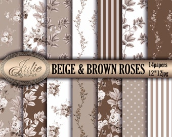 Roses floral digital paper Floral and Roses digital paper Floral and roses Digital scrapbook Brown floral digital Rose backgrounds floral