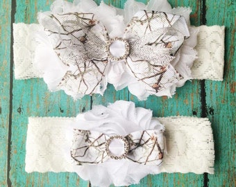 White Camo Wedding Garters | Wedding Garter Set | Bridal Garter and Toss Garter