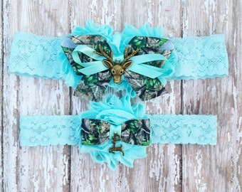 Something Blue Deer Wedding Garters | Deer Hunter Camo Wedding Bridal Garter and Toss Garter | Other Colors Available, Customize Your Garter