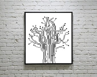 Tree of Life Cross Stitch Pattern, Evolutionary Tree Silhouette Pattern, Retro Embroidery, Science Cross Stitch  PDF - PATTERN ONLY