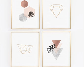 Copper Wall Art- Scandinavian Modern Prints - Geometric Prints - Scandinavian Wall Prints, Marble, Blush, Diamond Print, Hexagon (1400-4)