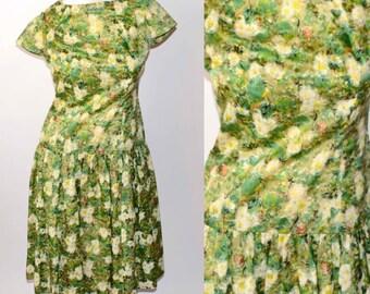 50s Vintage Green Garden Facade Dress with Drop Waist