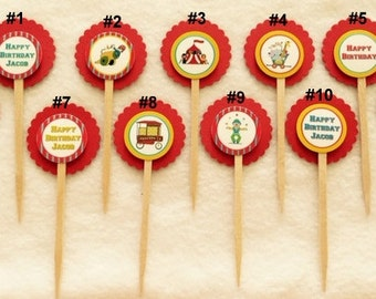Set Of 12 Customized Circus Cupcake Toppers