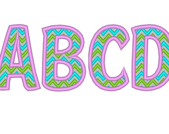 Thihn Girly CHEVRON, block Font machine embroidery designs - many sizes, BX embroidery, bx font alphabet sport Chevron alphabet applique