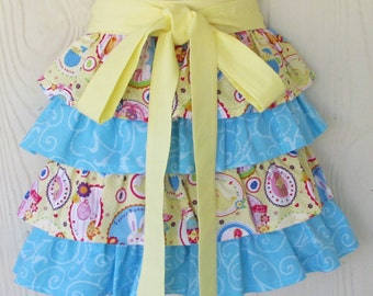Easter Half Apron, Ruffles, Bunnies, Chicks, Cupcakes, Waist Apron, READY TO SHIP, KitschNStyle