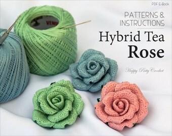 Crochet Flower PATTERN - Crochet Rose Pattern - Crochet Pattern - Brooch Pattern - Crochet Flower Applique - Instant Download