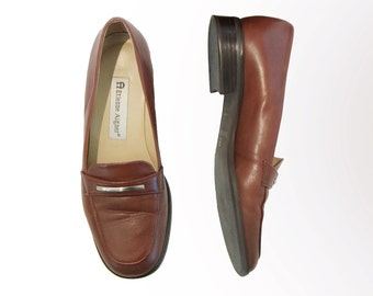 Etienne Aigner Brown leather loafers, made in BRAZIL