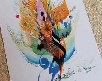 """Postcard Eastern Arabic calligraphy """"Tree of the traveller"""""""