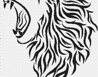 Filet Crochet Pattern - Lion