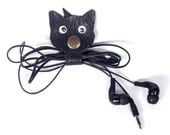 Leather Cable organizer, Cat Organizer,  Headphone holder, Cord keeper by Loveknittings