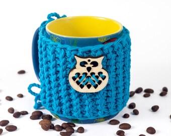 Coffee Cup Sleeve, Coffee Cup Cozy, Coffee Mug Cozy, Owl Coffee Sleeve, Tea Cozy, Knit Coffee Cozy Tea Cosy by LoveKnittings