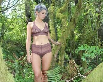 Aubergine Mid Rise Lace Panties